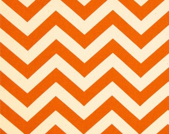 1/2 or 1 yard fabric -Home Decor Chevron Fabric -Premier Prints Zig Zag Mandarin Orange Natural