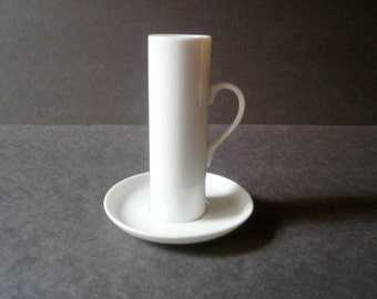 RESERVED 2 Available - Lagardo Tackett Schmid Espresso Cups & Saucers White Porcelain Mid Century Modern