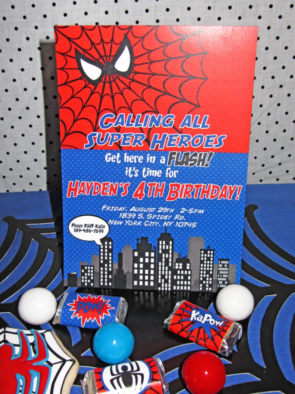 It's just a photo of Peaceful Printable Spiderman Invitations