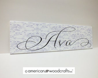 "Girls Name Sign Personalized Kids Sign Damask Sign 7""x24"""