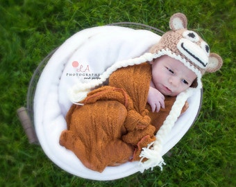 Newborn Baby Sock Monkey Photo Prop hat. Crochet Baby Monkey Hat.