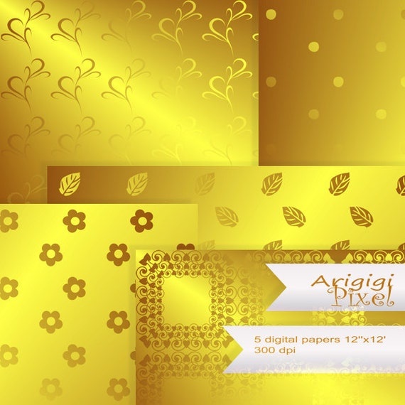 gold digital collage sheet with flowers leaves polka dot and ornate squares - digital download