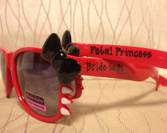 Personalized flower girl/ bride kitty whisker bow tie sunglasses