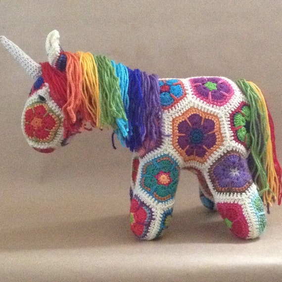 African Flower Crochet Dragon Pattern : Custom Handmade African Flower Crochet Unicorn by Lineandloops