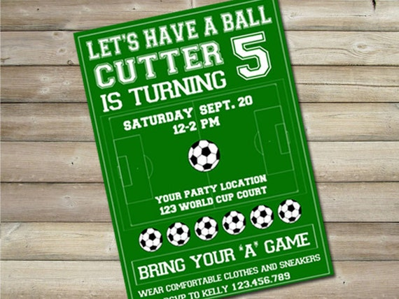 "Soccer Birthday Party Invitation 5""x7"" PDF OR JPEG"