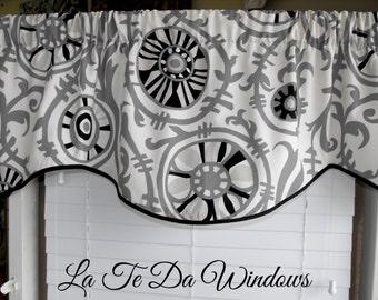 Window treatment valance, curtain valance, black and gray valance, window curtain valance, custom valance, modern valance
