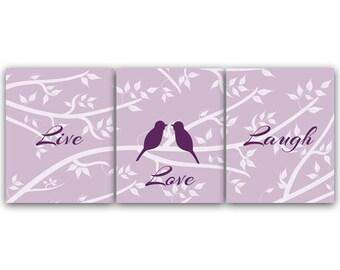 Purple Bedroom Decor Live Love Laugh Home Decor Art INSTANT DOWNLOAD Love  Bird Art Bathroom Wall