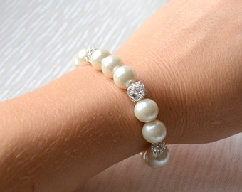 Ivory Bridesmaid jewelry - bracelet with rhinestones Bridesmaid Gifts Glass Pearl Bracelet Wedding Jewelry Weddings bracelet for bridesmaids