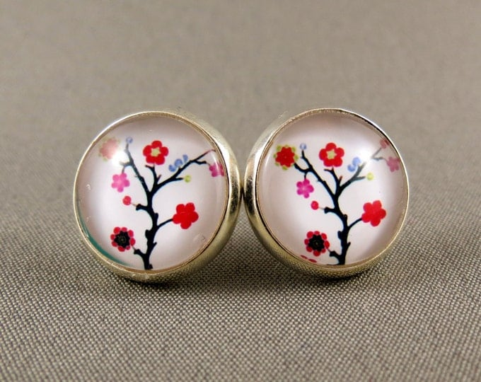 Featured listing image: Stud Earrings Glass Cabochon - Cherry Blossom