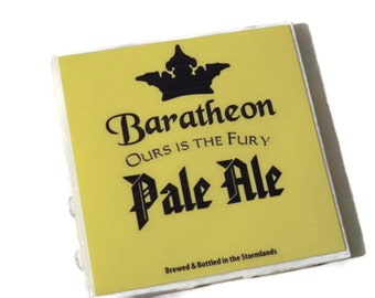 Game of Thrones Baratheon Ours is the Fury Pale Ale Coasters,king joffrey,renly baratheon,stannis baratheon,tommen baratheon,drink coasters