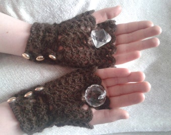 Lacy Steampunk, Gothic, Victorian Fingerless Gloves Rich Chocolate Brown S - M