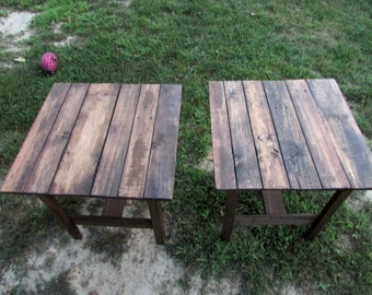 TWO Rustic Reclaimed, Heavily Distressed Wood End Tables, Side Table, Bedside Table, Nightstand, Cottage Chic, Rustic, Distressed, Farmhouse