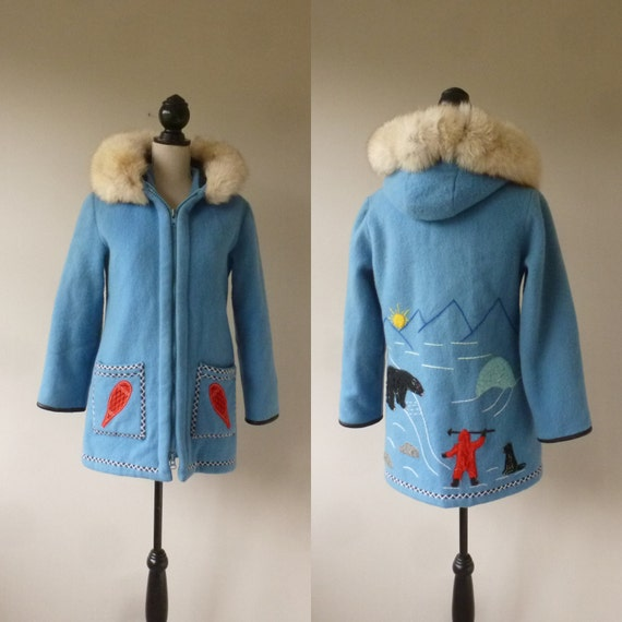 Blue Inuit Parka James Bay Wool Inuit Coat Vintage