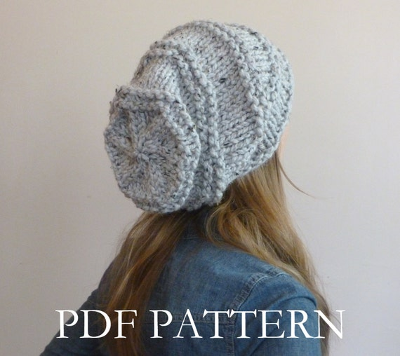 INSTANT DOWNLOAD Knit Hat Pattern Oversized Slouchy Beanie, Knitting Hat Patt...