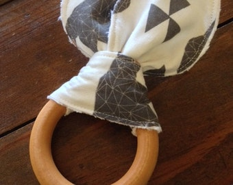 Natural Maple Wood/Teething/Ears/Ring/Teether/Toy/Chew ~ Geometric//Tribal//Native//Bear//Nature//Woodland