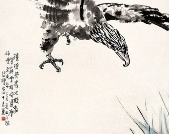 Chinese art, Eagle FINE ART PRINT, animals, birds, eagles art prints, posters, china paintings fine art reproductions, wall art home decor