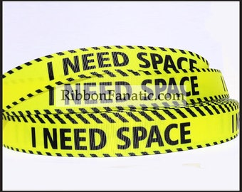 """5 yds 7/8""""  I Need Space Grosgrain Ribbon Yellow and Black"""