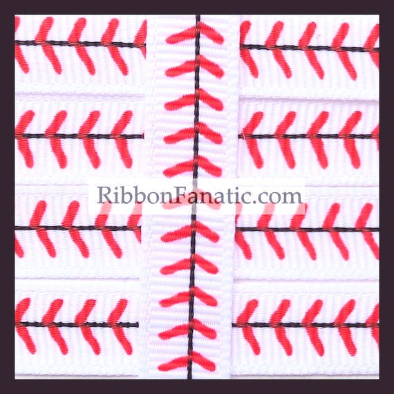 10 Yds 3 8 Quot Red Baseball Stitch Stitches Grosgrain Ribbon