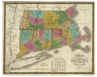 Massachusetts, Connecticut, & Rhode Island 1831 by Mitchell    Reprint