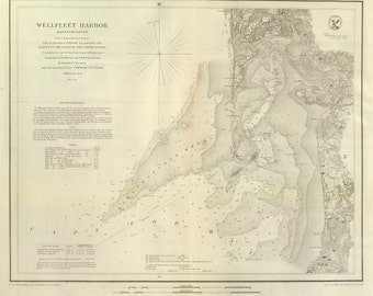 Wellfleet Harbor, MA - Nautical Map 1853 - Reprint - 18-USA-1854