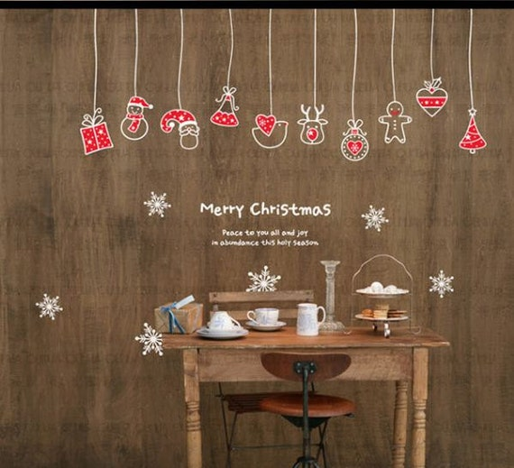 Christmas decoration mural art wall window deco diy sticker for Decoration fenetre posca