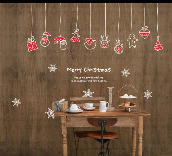 Christmas decoration mural art wall window deco diy sticker for Christmas window mural