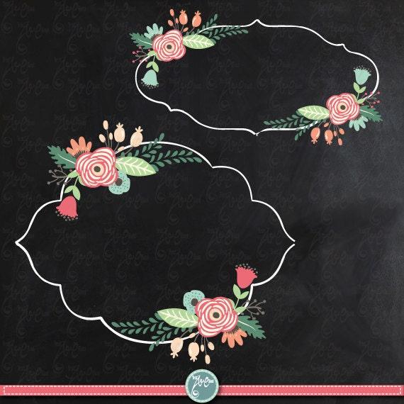"Flower Wall Decor Reversible Mosaic With Chalkboard: Chalkboard Wedding Clipart ""WEDDING FLORA FRAME"" Clip Art"