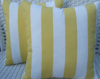 "Set of 2 Pillow Covers -  17"" x 17""  Indoor / Outdoor Yellow & White Stripe Decorative Pillow Covers"