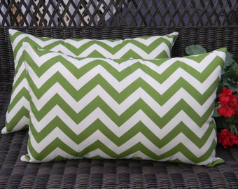Set of 2 ~ Green and Ivory Zig Zag Chevron Rectanle / Lumbar Decorative Throw Pillows ~ Indoor Outdoor Fabric