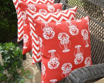 """Set of 4 Pillow Covers ~  20"""" Red and White Chevron & Coastal / Nautical / Beach Lobster Indoor / Outdoor"""