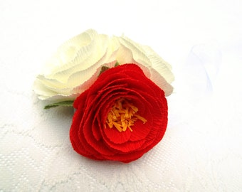 Paper Flower Corsage/ Wrist Corsage/ Wedding Corsage/ Bridal Shower/ Peper Flower Corsage/ Bright Red and Ivory Corsage
