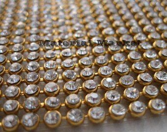 1 pcs 24 Rows 45inch long  Crystal Rhinestone Ribbon 3mm wide  clear crystal stones on Gold setting