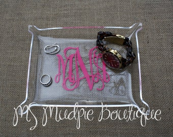 Medium Acrylic Monogram Jewelry Tray, Personalized Tray, Desk Organizer, Monogram Catch All Tray