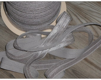 5/8 SILVER Fold Over Elastic 5 or 10 YARDS