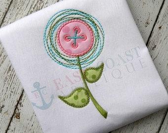 BUTTON FLOWER machine embroidery design