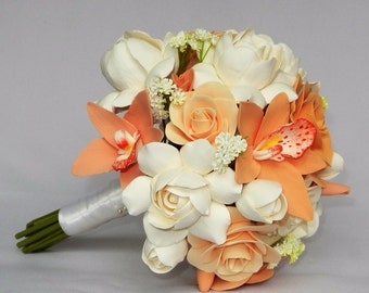 Clay flower wedding bouquet/flower girl bouquet