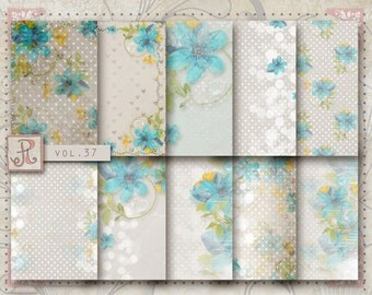 Scrapbook Papers, Digital Paper Pack vol 37, floral pattern, 12x12, jpg file