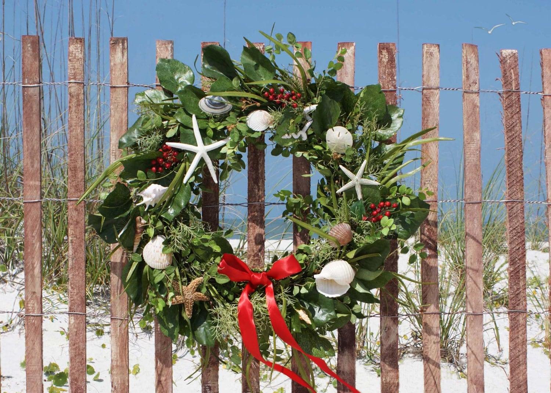 Beach wreath holiday cards