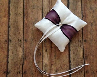 Plum Wedding Dog Ring Bearer Pillow White or Ivory Limited Edition