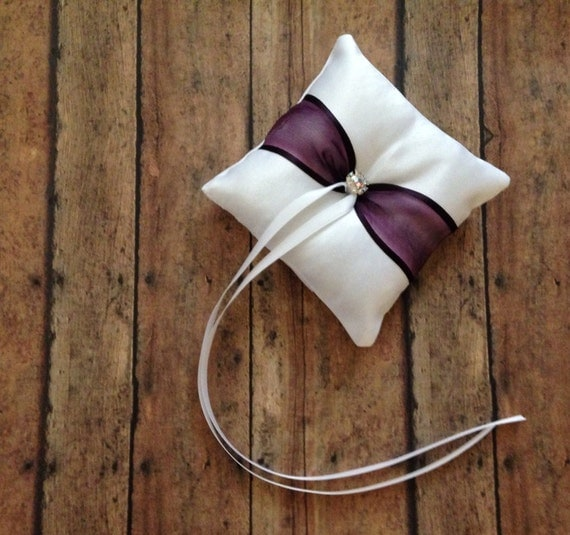 Plum wedding dog ring bearer pillow white or ivory limited for Dog wedding ring bearer pillow