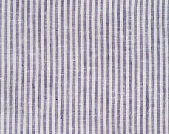 Blue Stripe Woven Linen Fabrics 145 g/m2