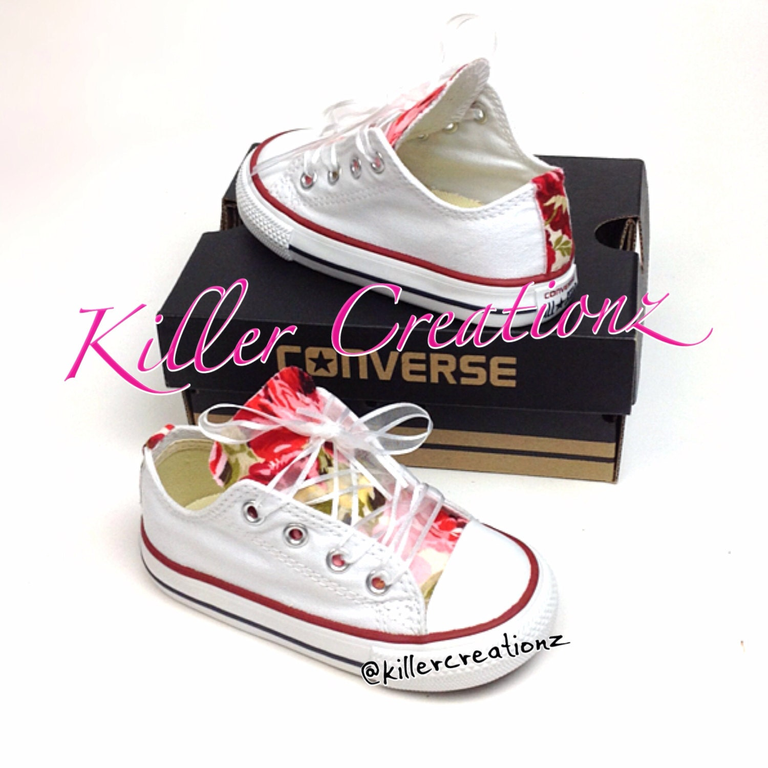 Floral Tongue Converse Shoes