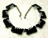 Black Thermoset Arthur Pepper Silver Tone Necklace