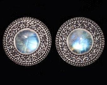 Sterling Silver Moonstone Clip Earrings, Rainbow Moonstone Clip On Earrings, Balinese Moonstone Clip Earrings: DELILAH CLIPS