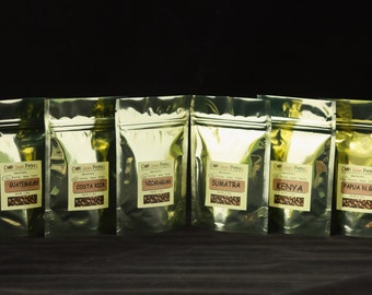 Freshly Roasted Coffee Sampler - 6 Count   Single Origin, Organic and Fair Trade Coffee