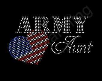 "Rhinestone Iron On Transfer ""Army Aunt"" Bling Design with USA flag heart"
