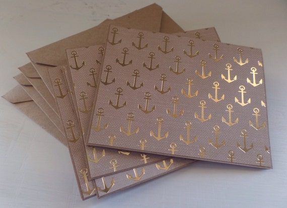Gold anchor design blank card set, stationary set