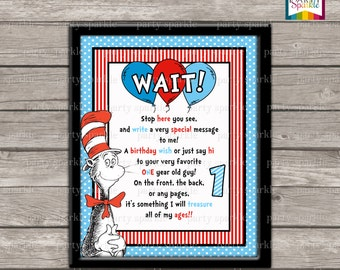 """INSTANT DOWNLOAD Printable Cat in the Hat Birthday - 1 Year Old Guy - Guest Book Sign - Cover Page- 8 x10"""" JPEG Digital File"""