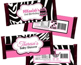 Zebra Print Candy Bar Wrappers, Party Favors - Digital File