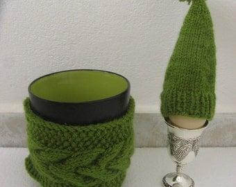 Breakfast Set: Mug Cozy, Cup Cozy, Mug Warmer Knitted, Egg cozy, Egg Warmer. Easter Gift. Gift under 15 USD Easter gift. Sale 20%